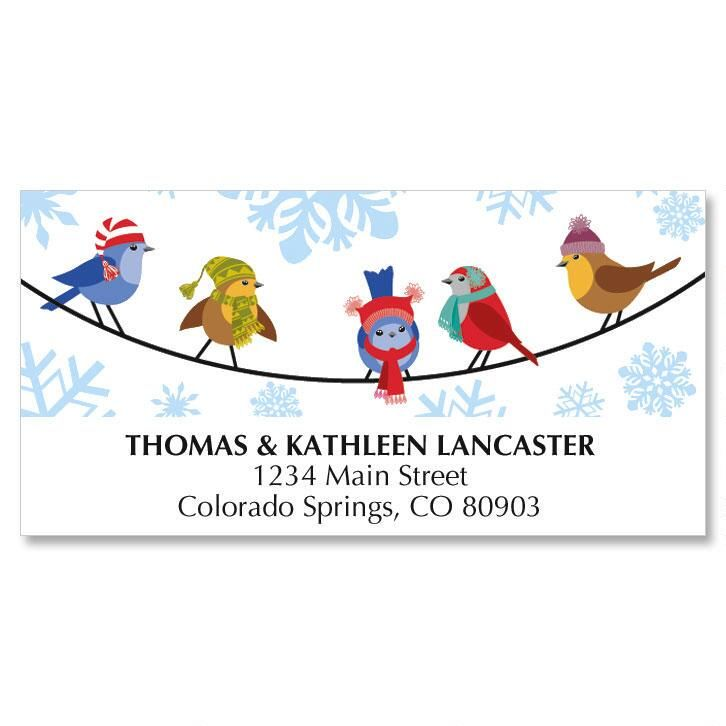 Snowflakes & Birds Christmas Address Labels