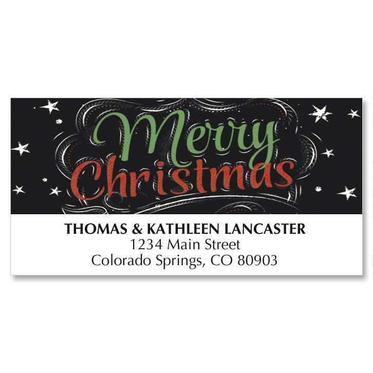 Blackboard Wishes Christmas Address Labels