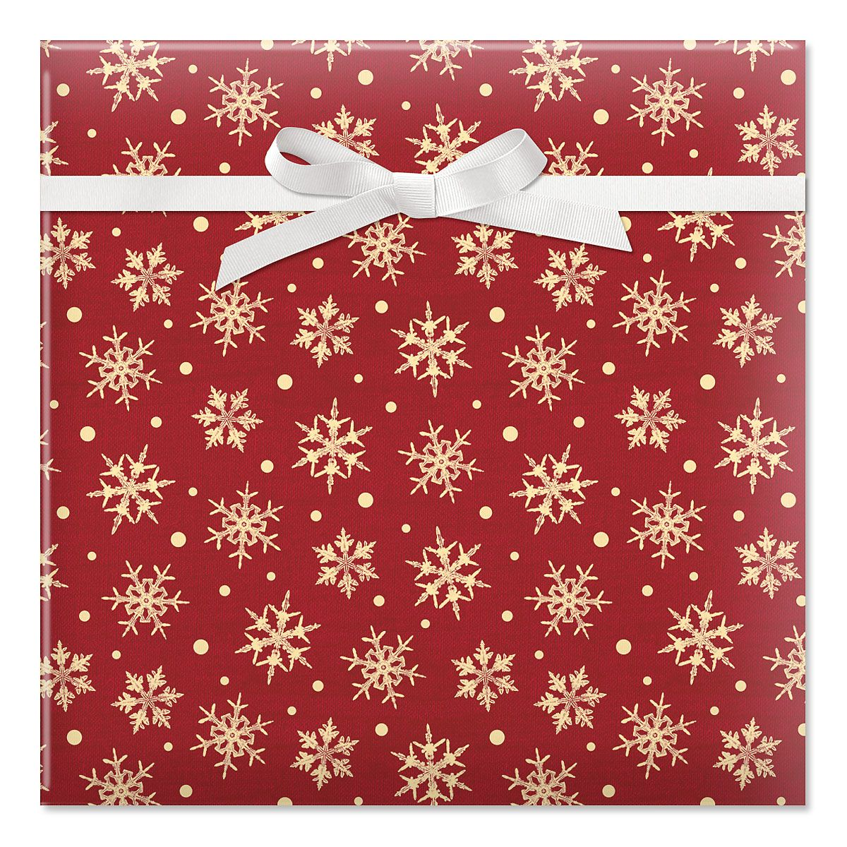 Snowflake Dots Jumbo Rolled Gift Wrap and Labels