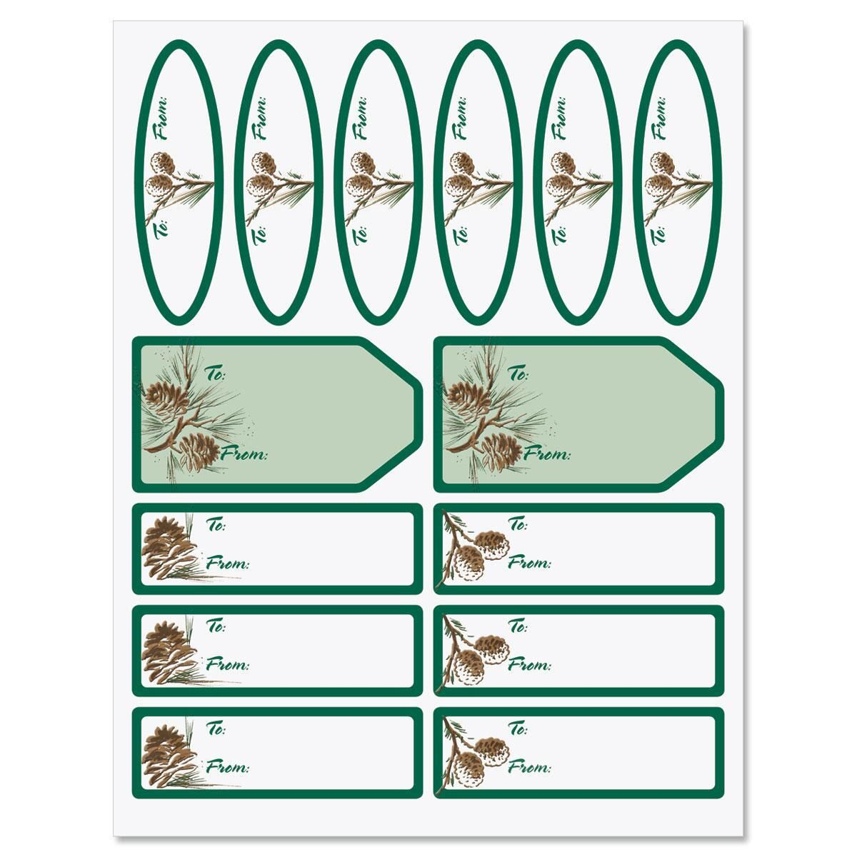 Pinecones on Kraft Matching Self-Stick Labels