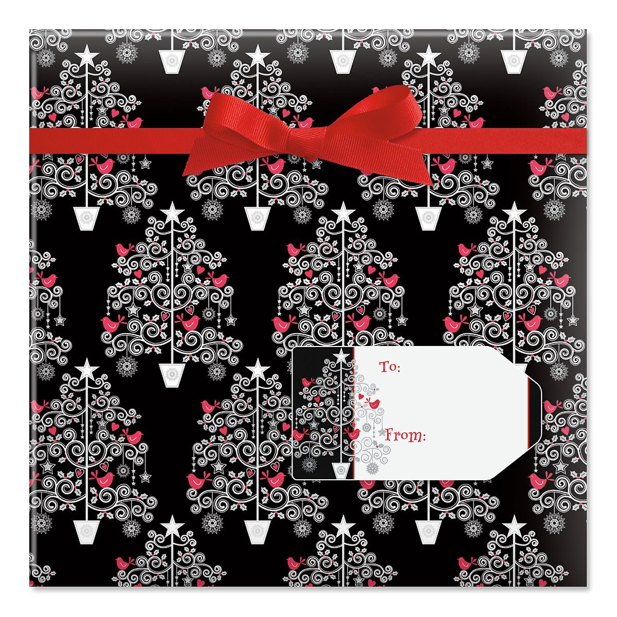 Whimsy Tree Jumbo Rolled Gift Wrap and Labels