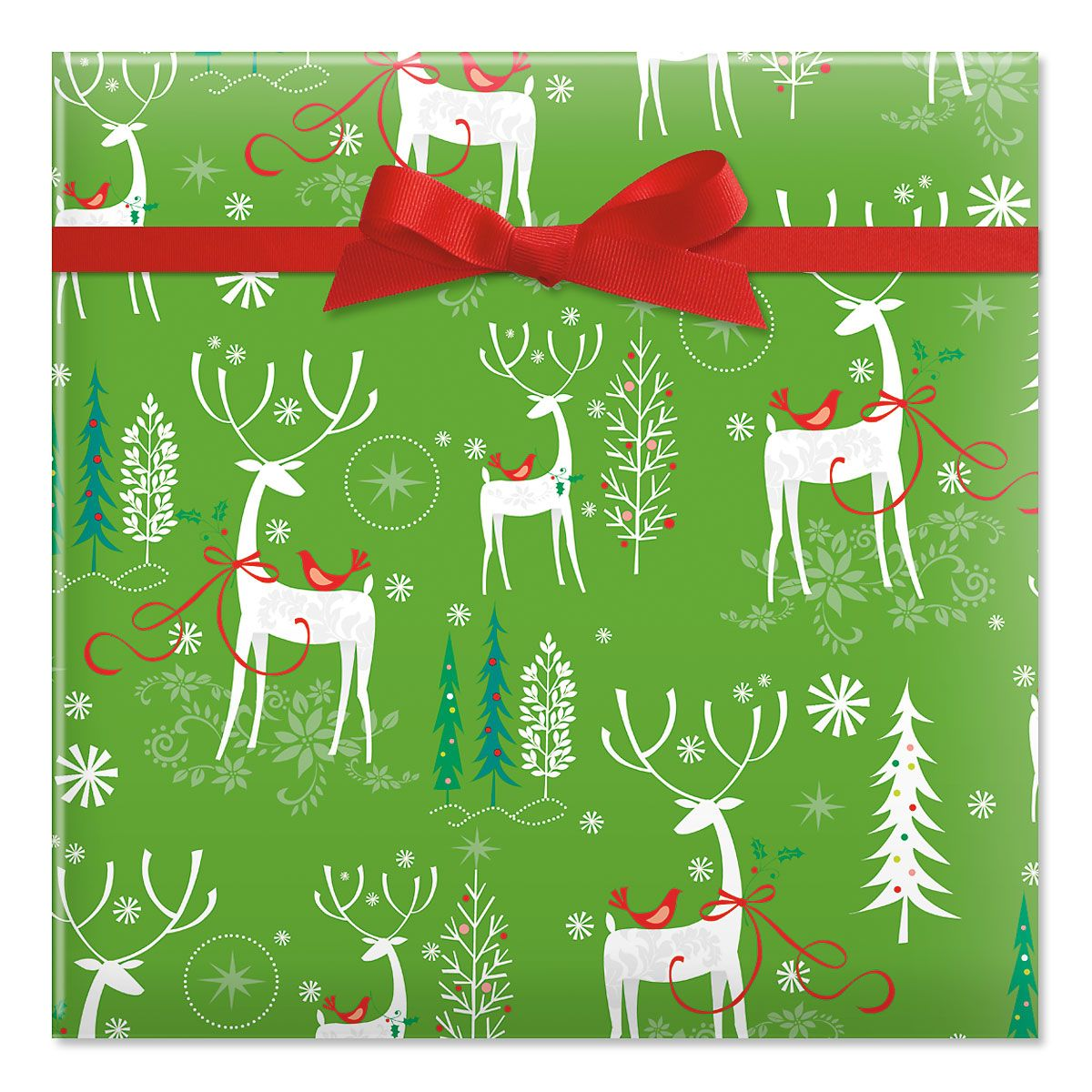Reindeer Forest Jumbo Rolled Gift Wrap