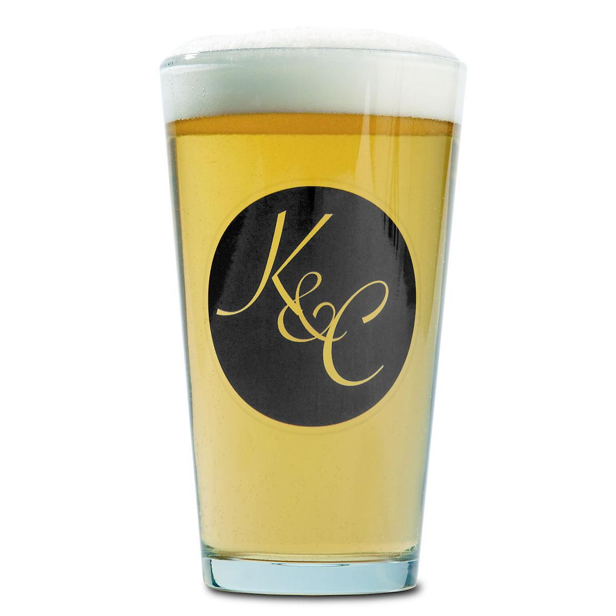 Beer Pint Personalized Glass - Circle Intial