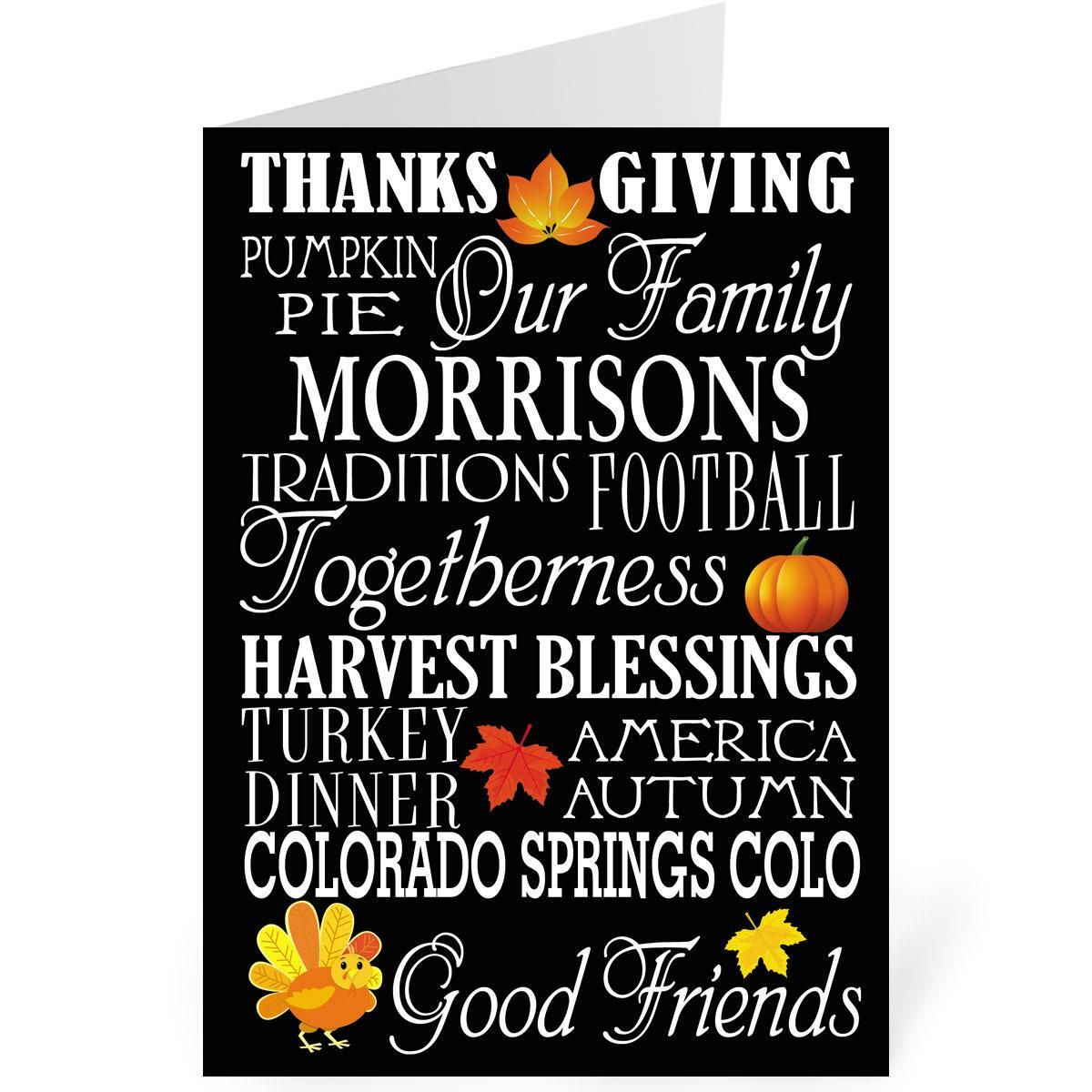 Thankful Personalized Thanksgiving Card