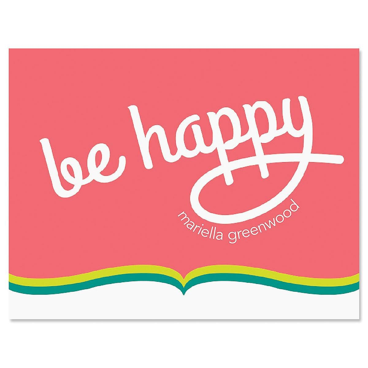Be Happy Personalized Note Cards