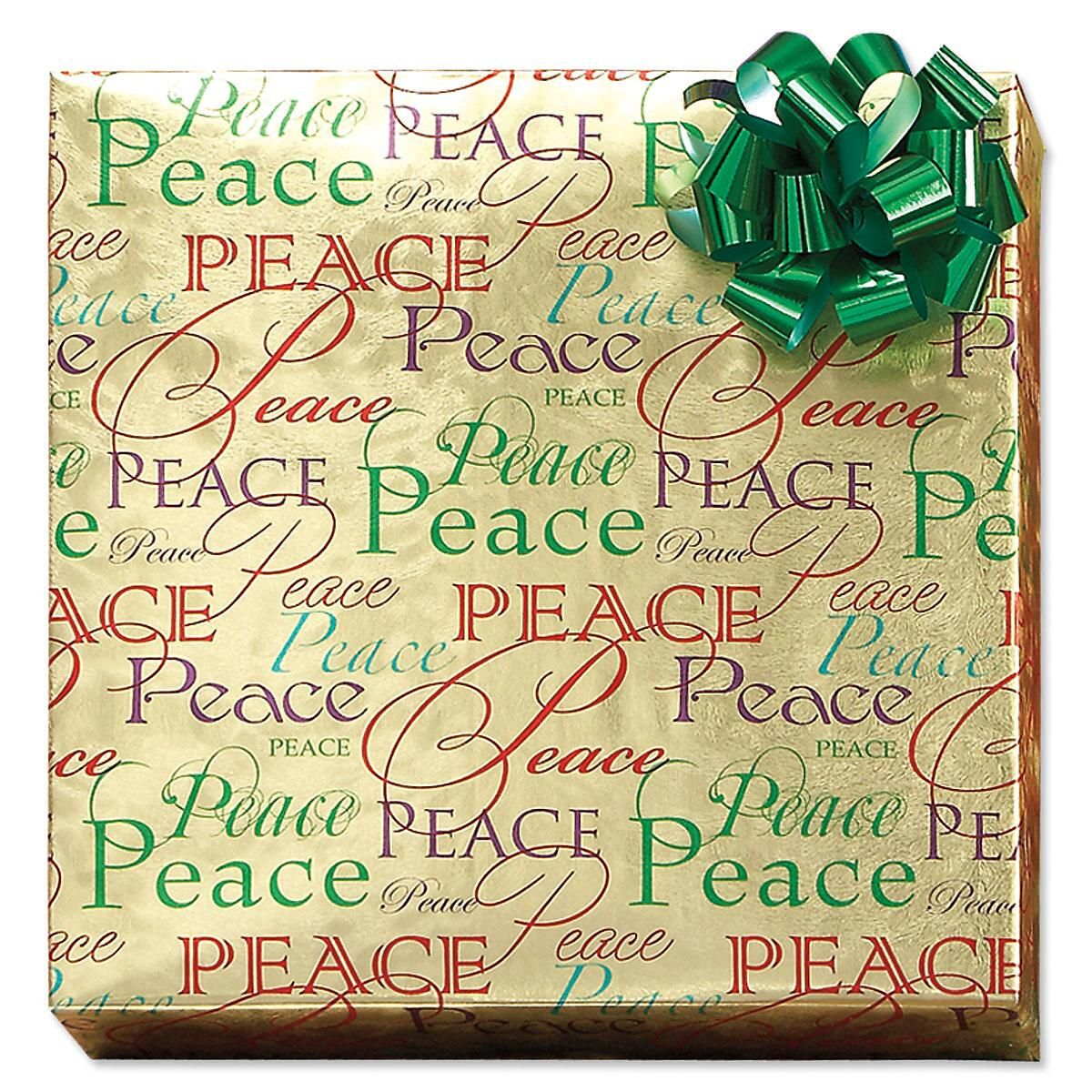 Christmas Peace Foil Rolled Gift Wrap