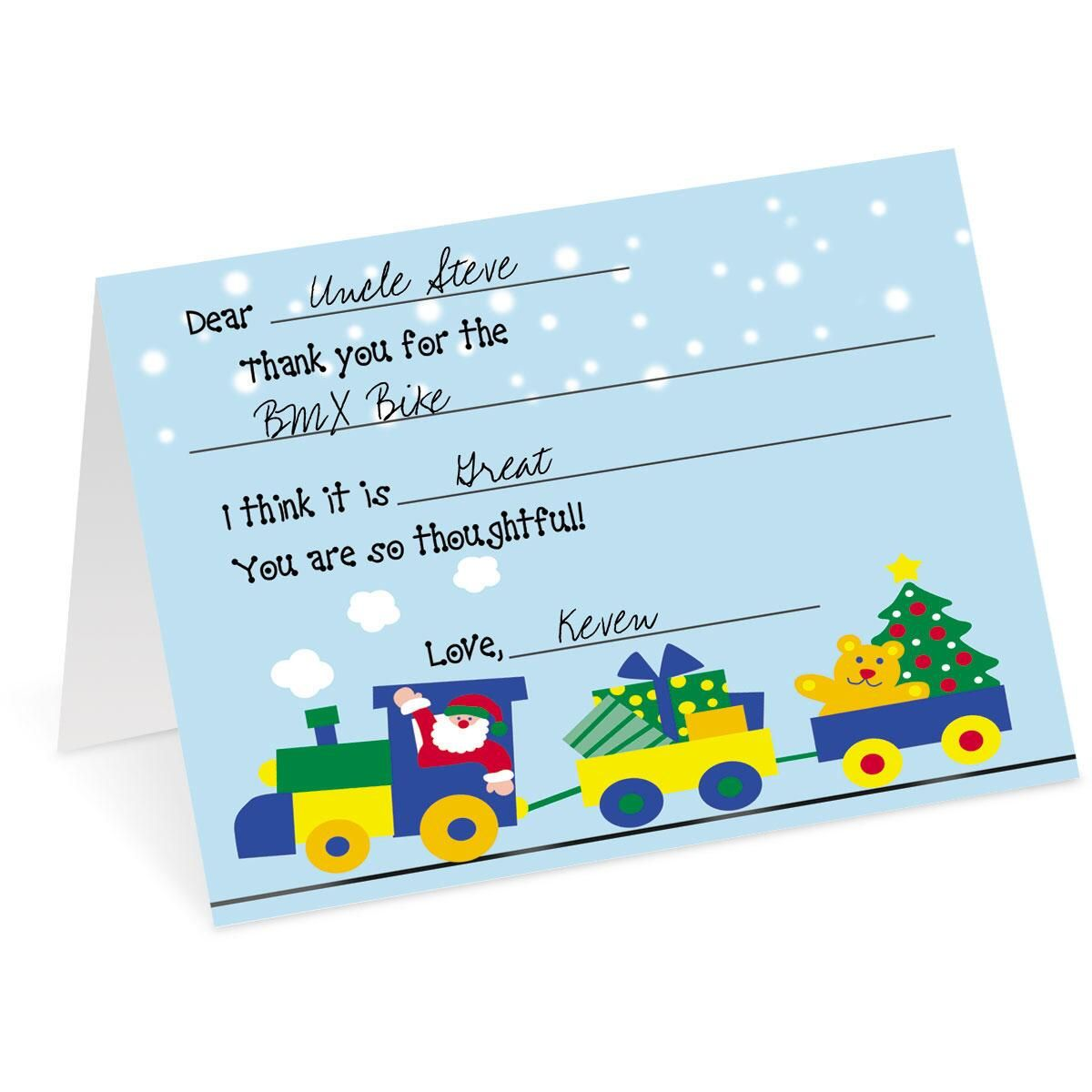 Holiday Train Personalized Thank You Cards