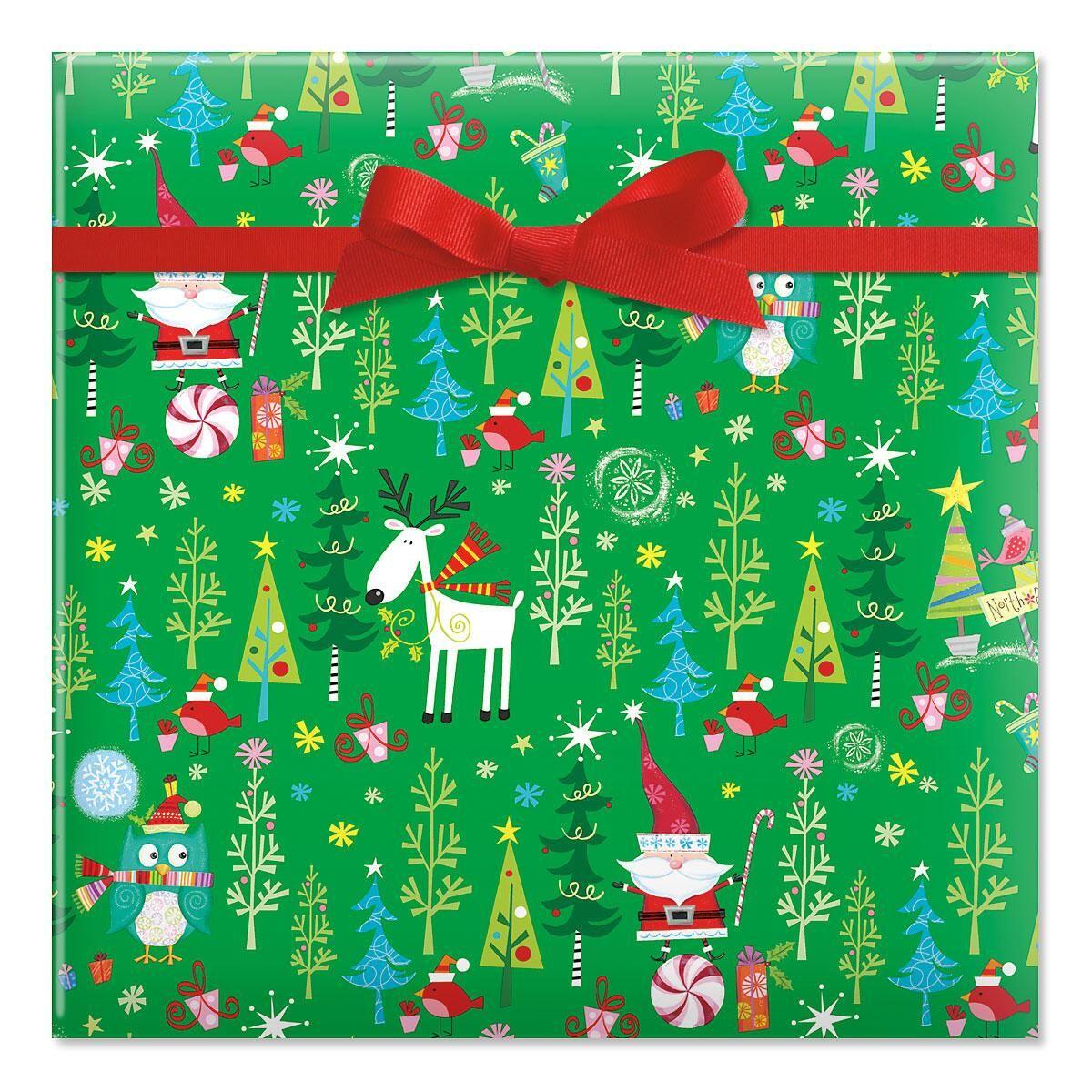 Whimsy Santa & Reindeer Gift Wrap