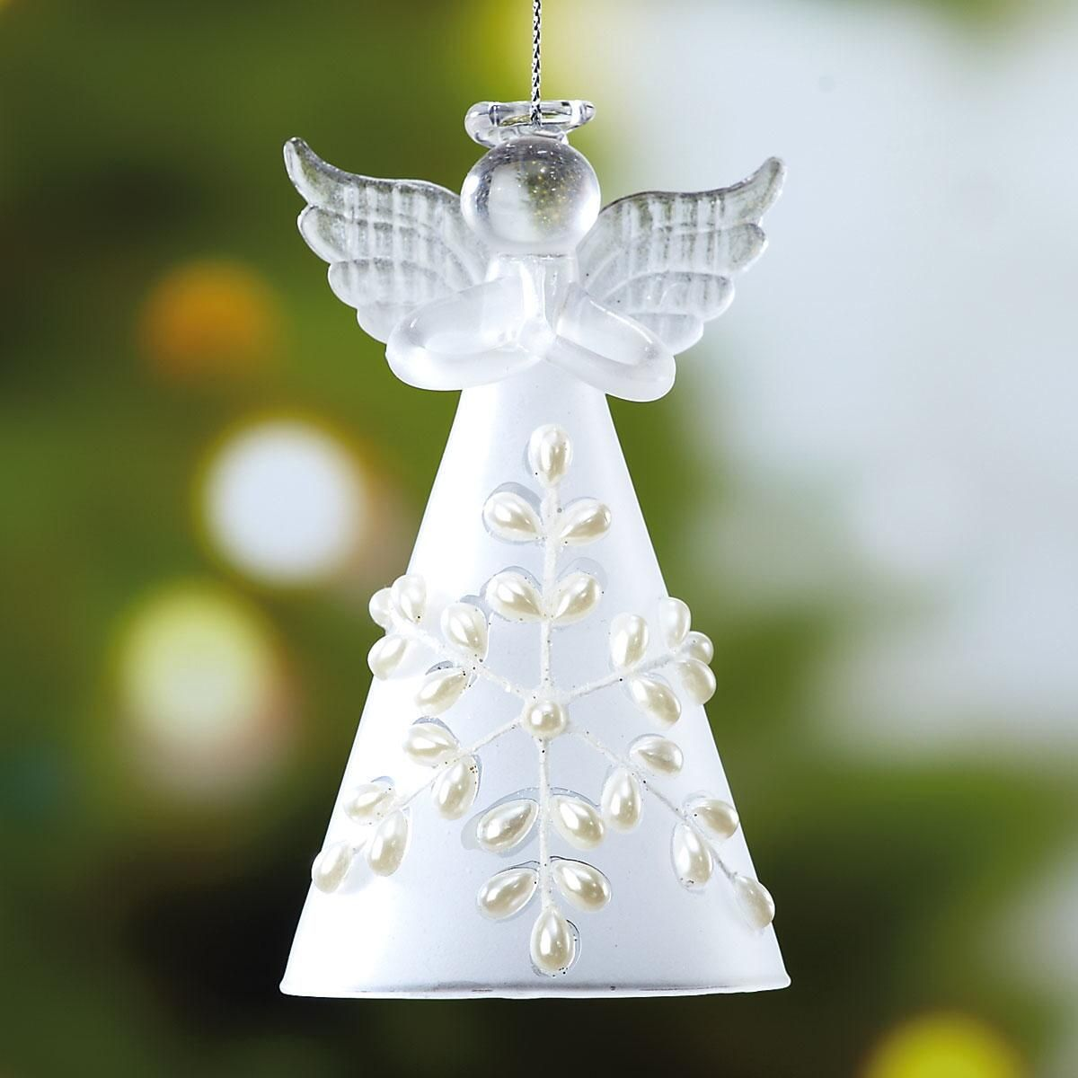 Glass Snow Angel Christmas Ornament