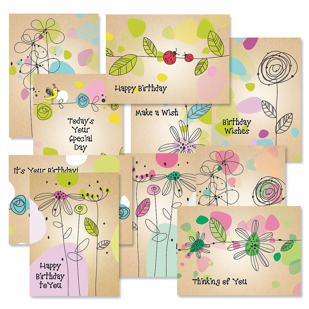 Kraft Blossoms Birthday Card Value Pack