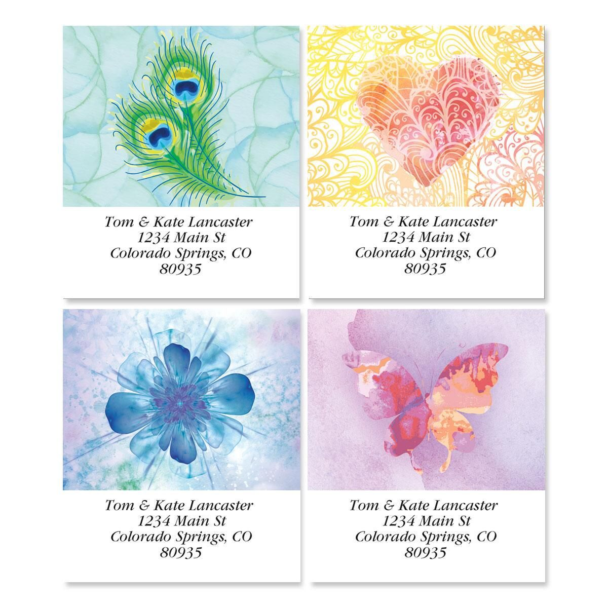 Bright Watercolors Address Labels