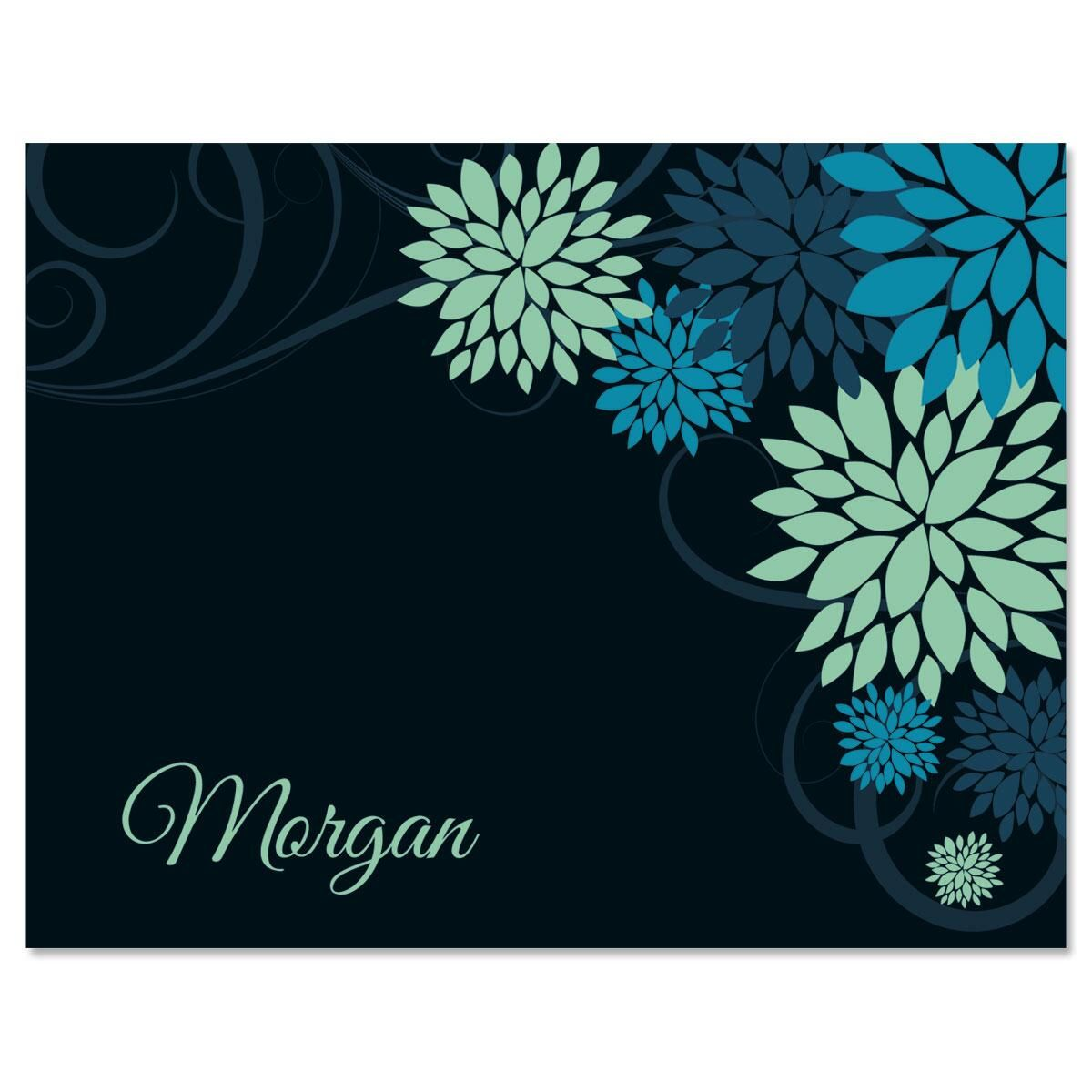 Swirly Bursts Personalized Note Cards
