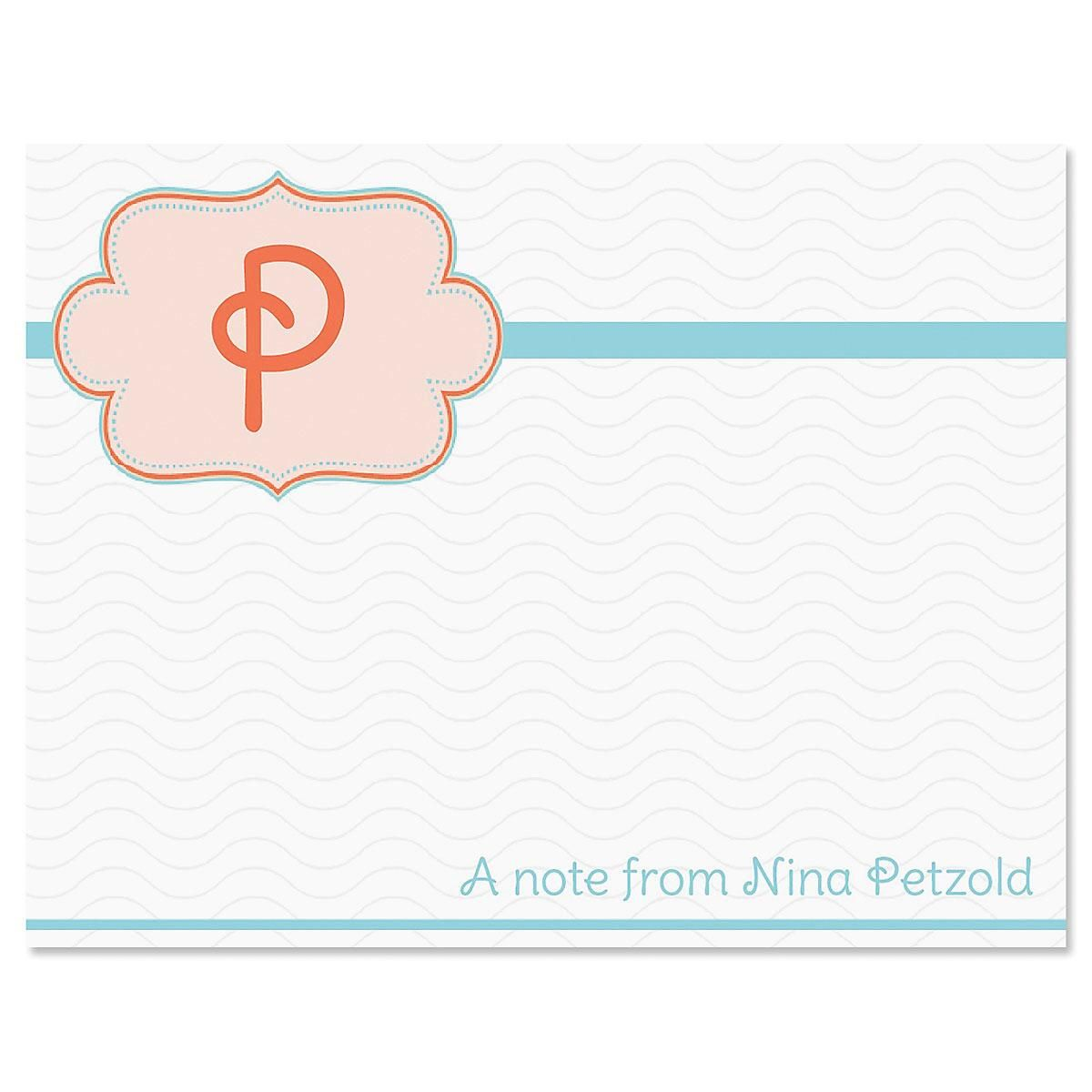 Monogram Detail Personalized Note Cards