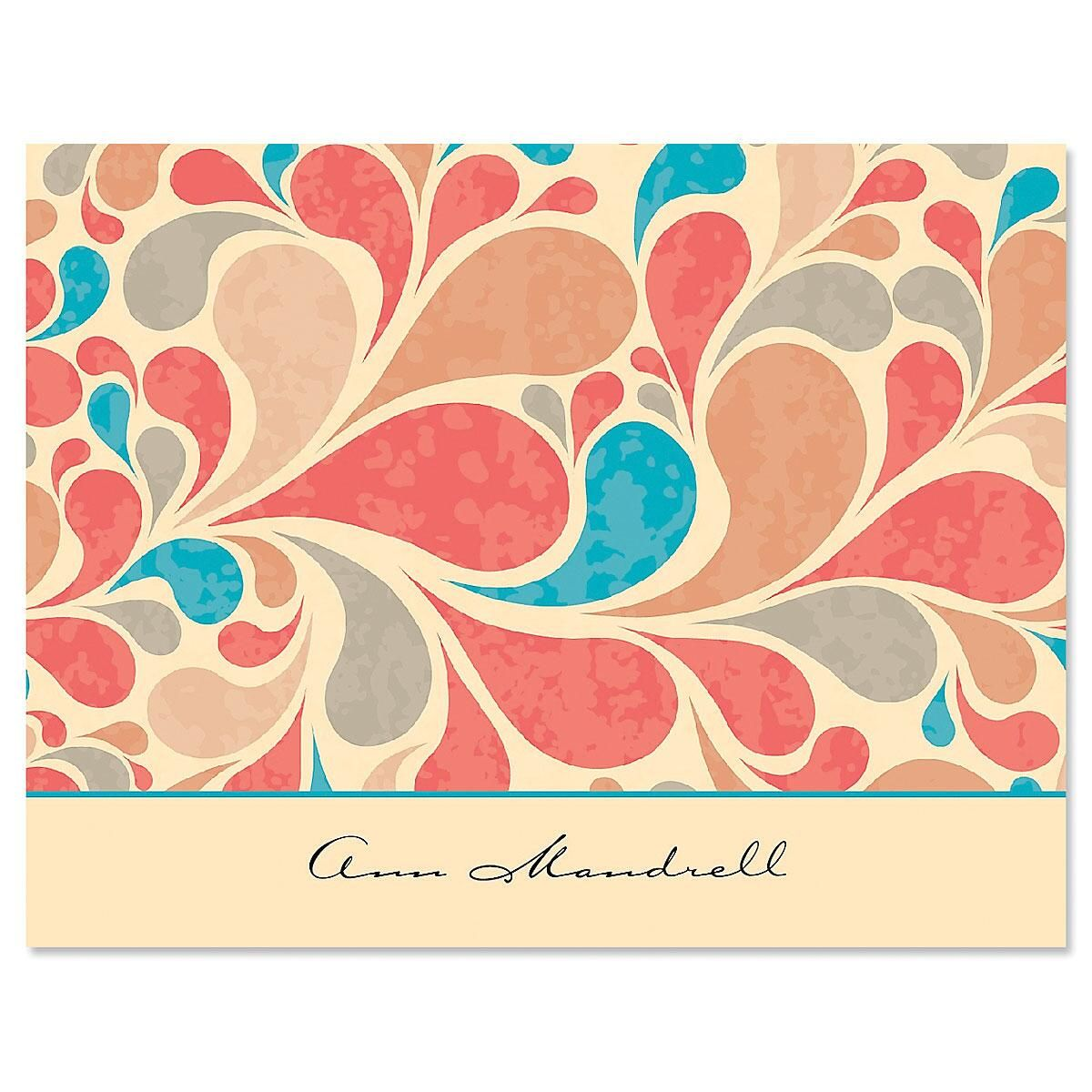 Coral Waves Note Cards
