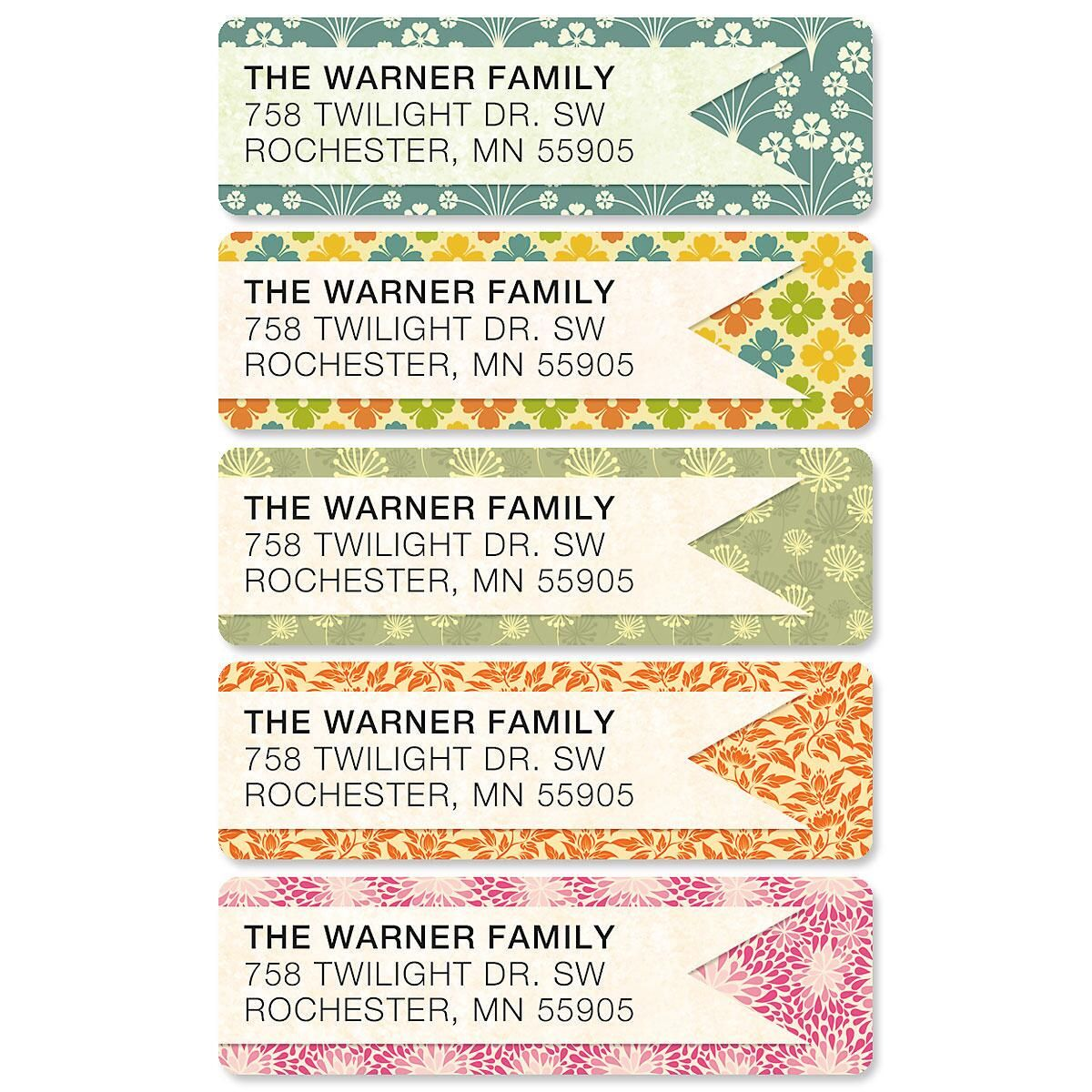 Blossom Banner Rolled Address Labels  (5 designs)
