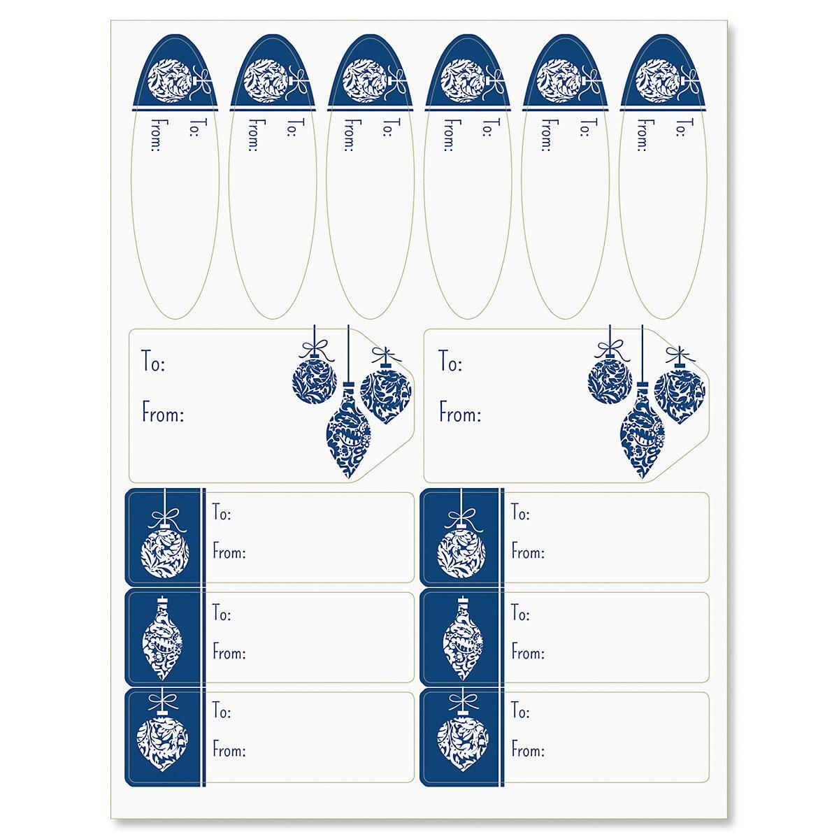 Ornaments on Blue Labels