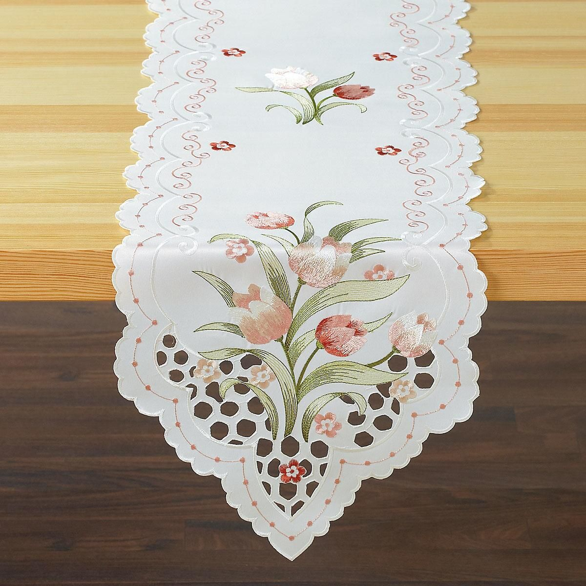 Spring Tulip Cutwork Table Runner