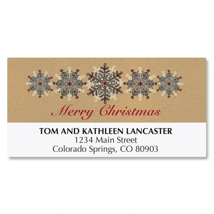 Stamped Snowflakes Deluxe Address Labels