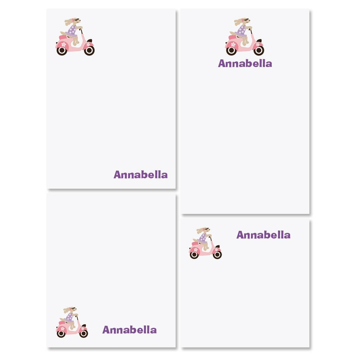 Pink Scooter Personalized Notepad Set