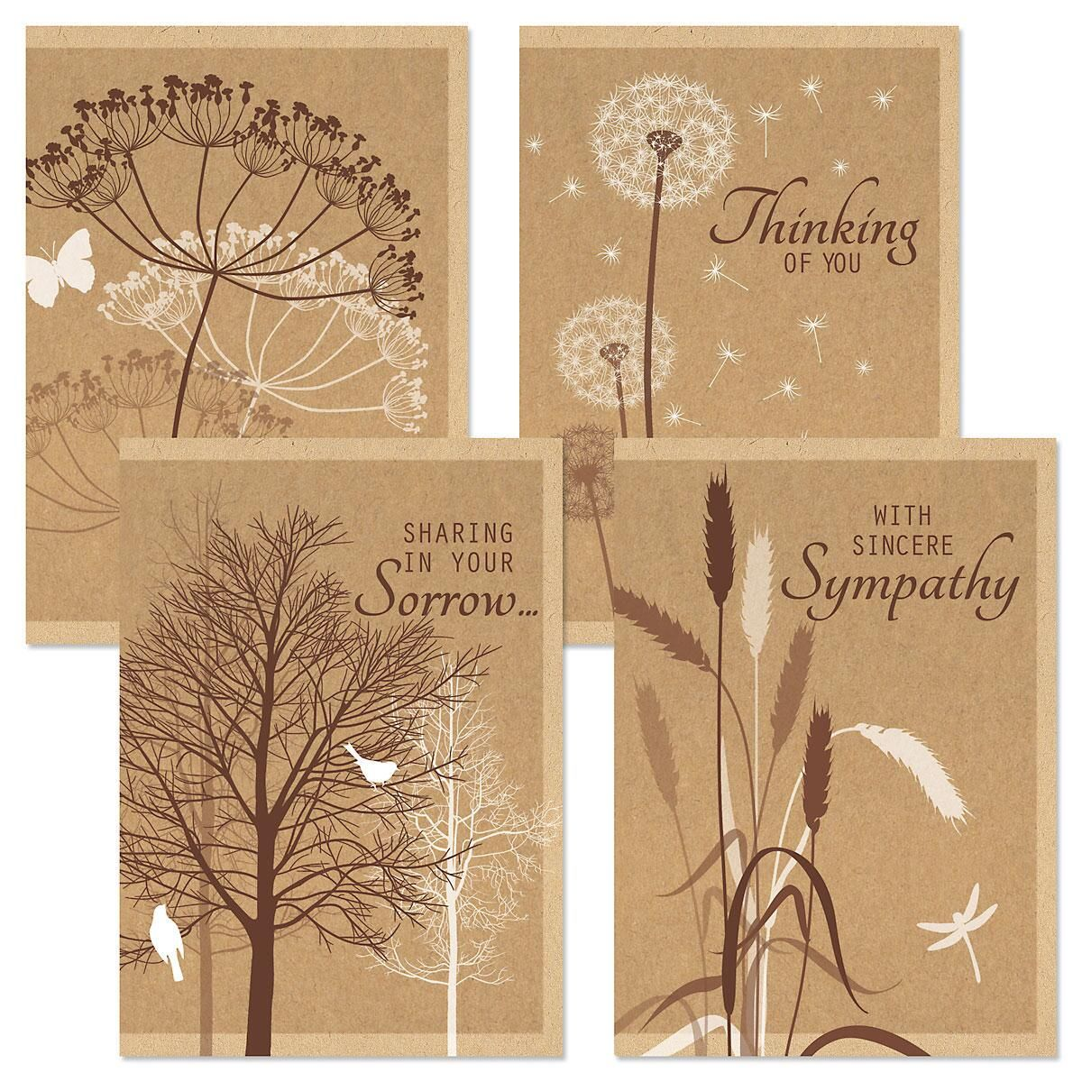 Kraft Sympathy Greeting Cards