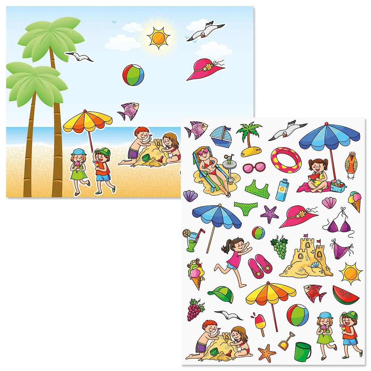 On the Beach Background Scenes and Stickers