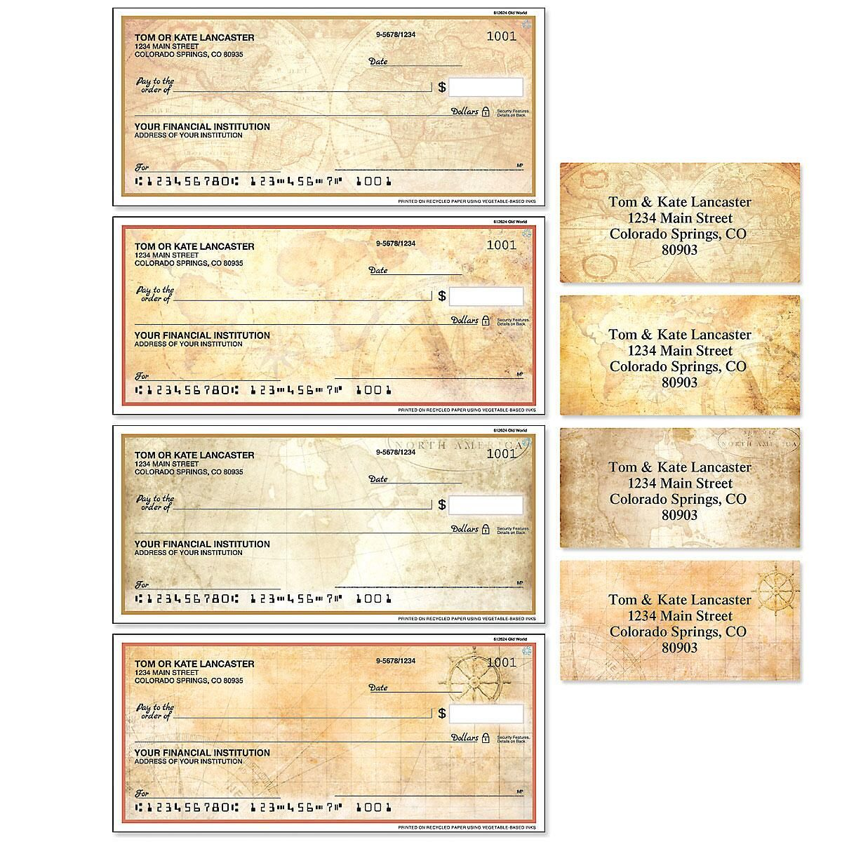 Old World Single Checks with Matching Address Labels