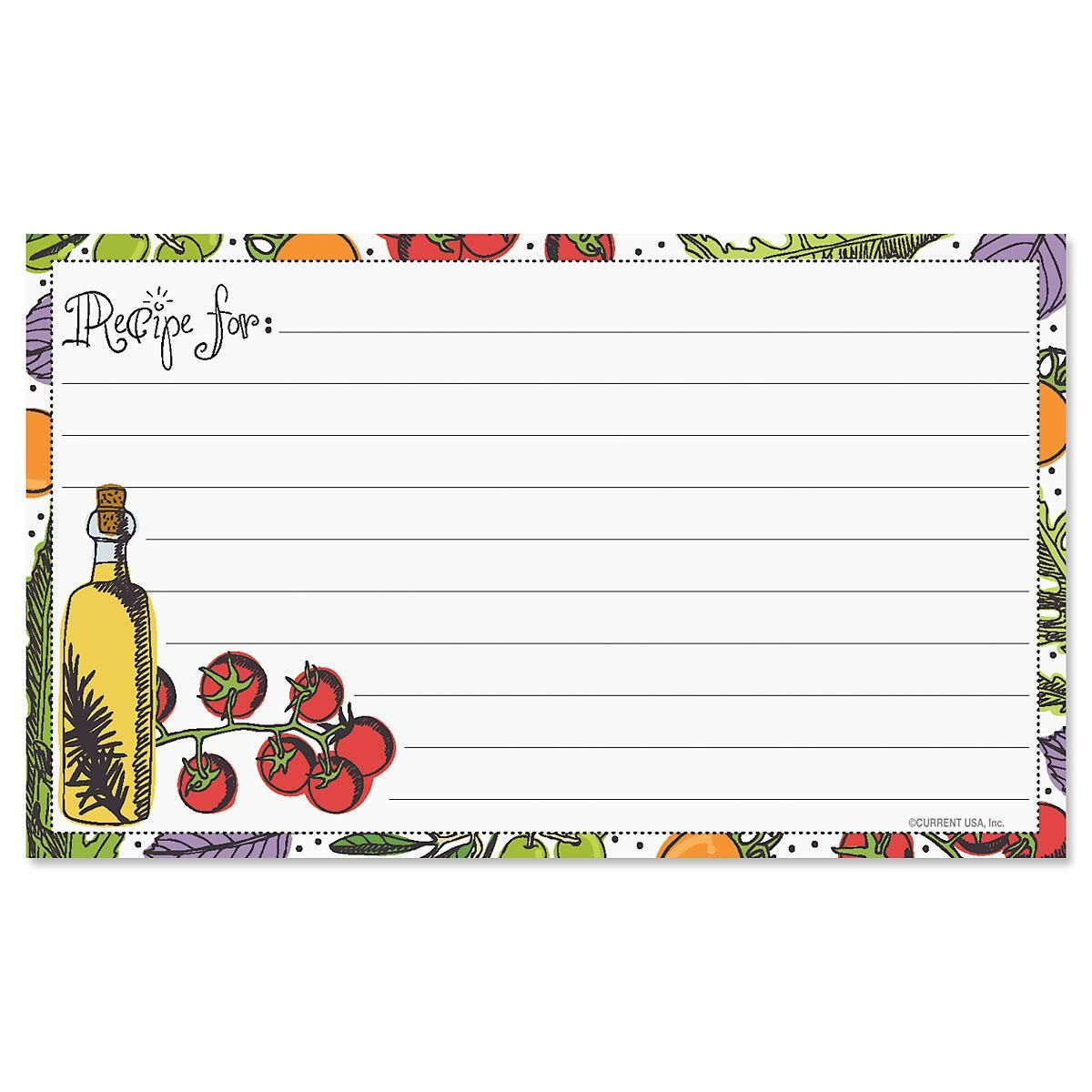 Veggie Recipe Cards - 3 x 5