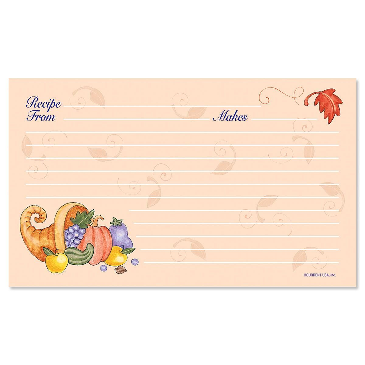 Harvest Recipe Cards - 3 x 5