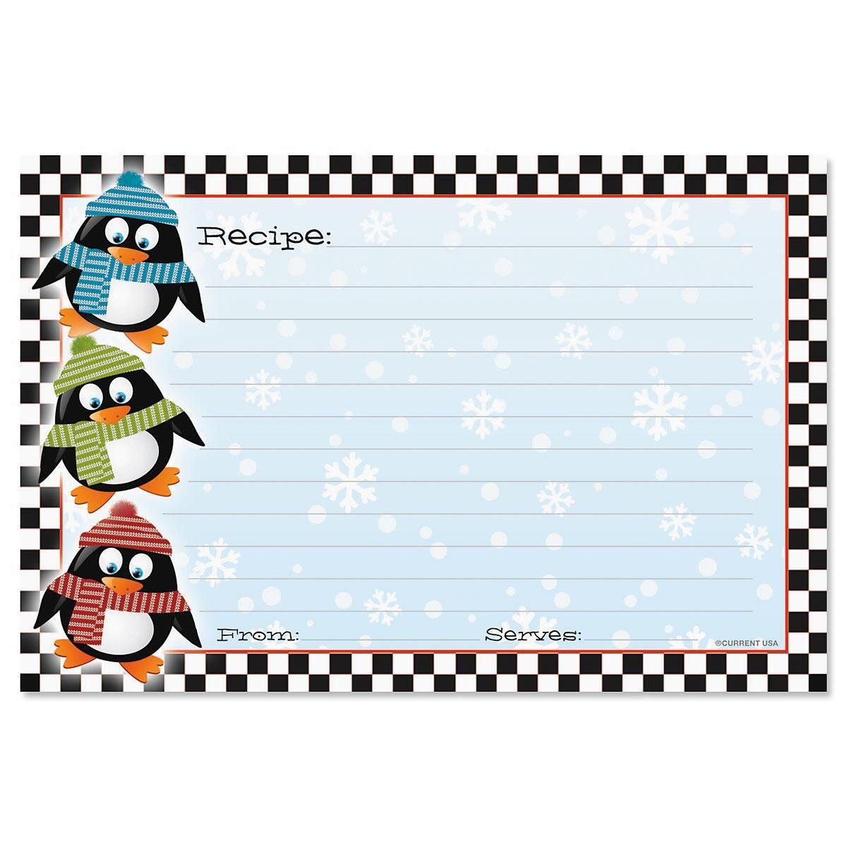 Penguin Recipe Cards - 4 x 6