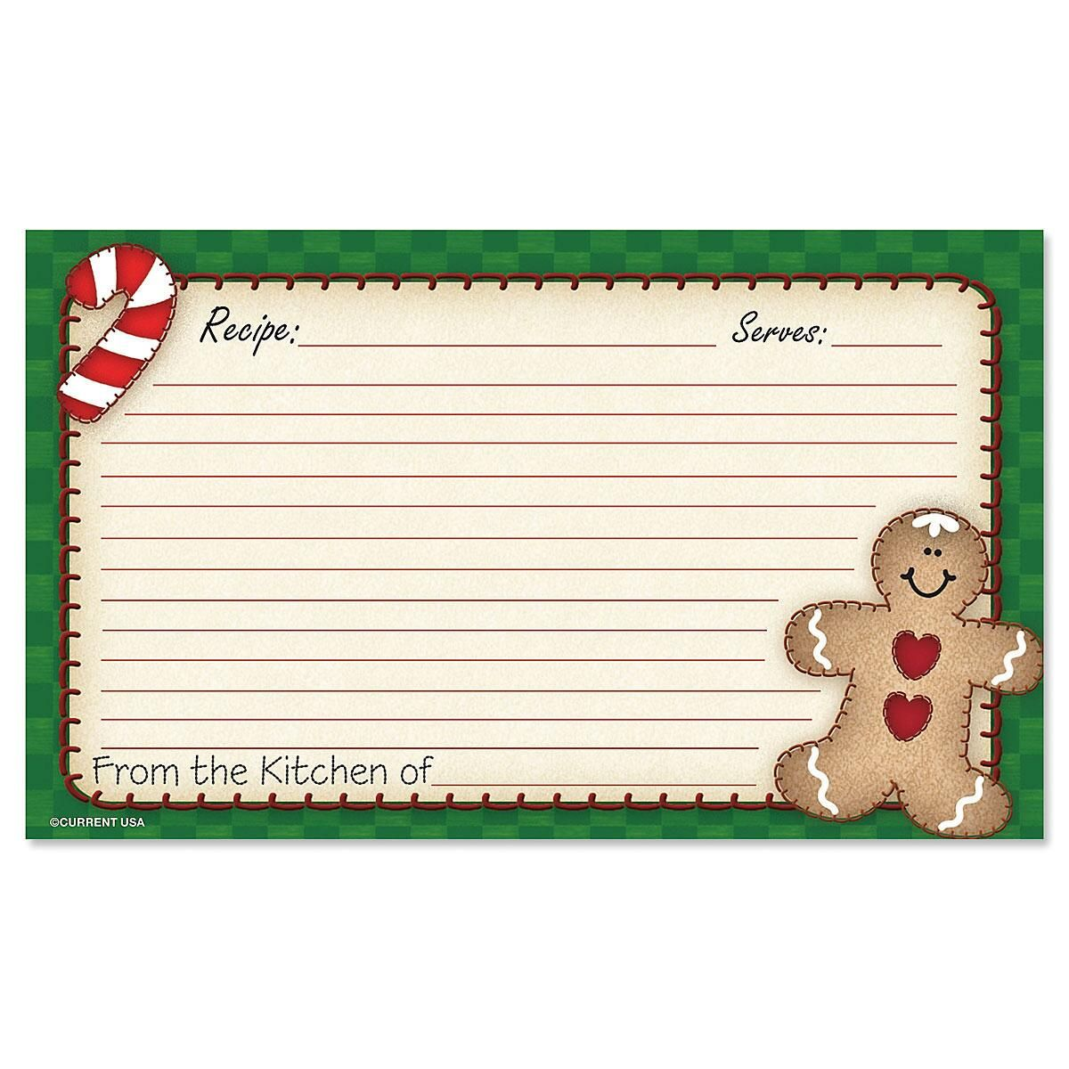 Gingerbread Recipe Cards - 3 x 5