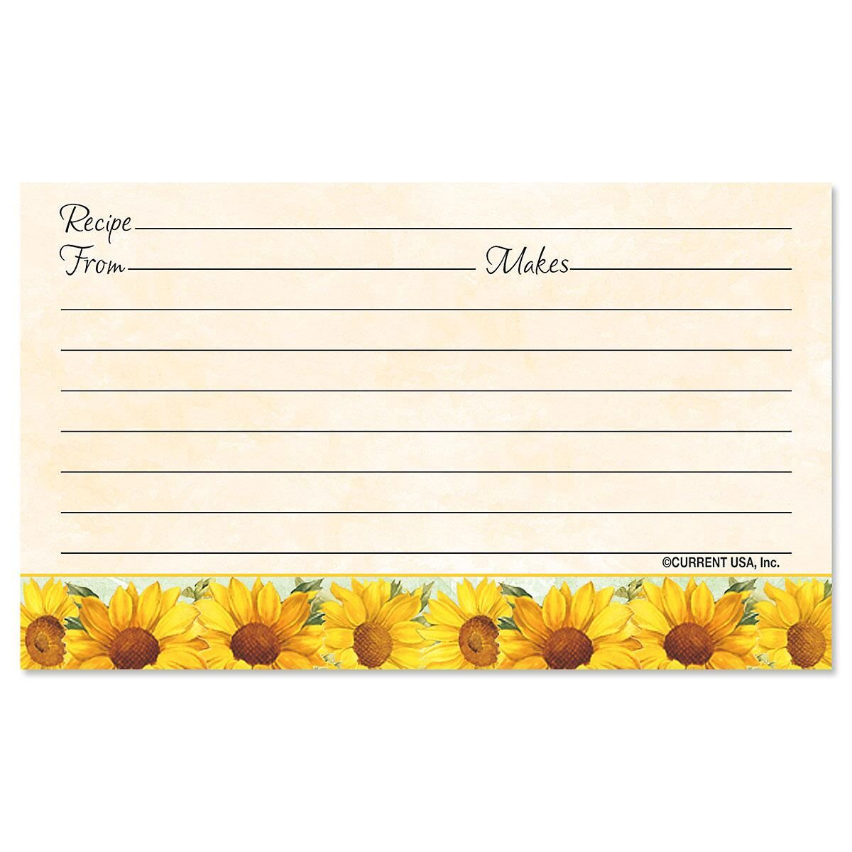 Sunflowers Recipe Cards - 3 x 5