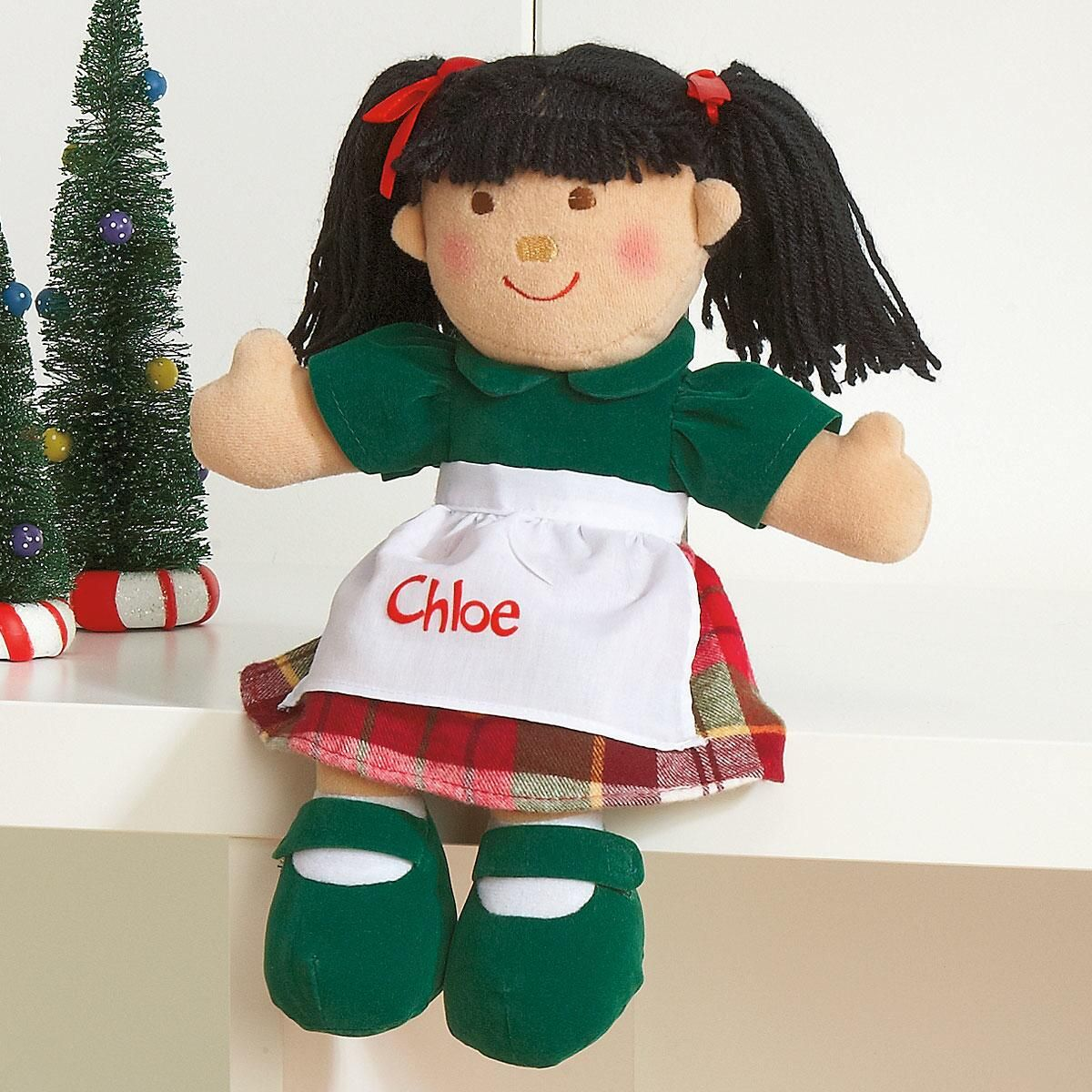 Black Hair Christmas Doll