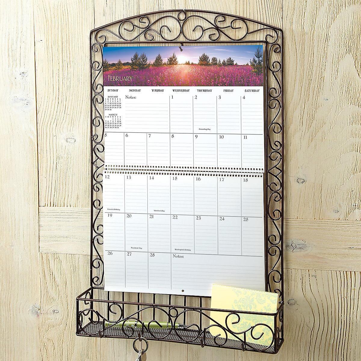 Bronze Swirls Wire Metal Calendar Holder