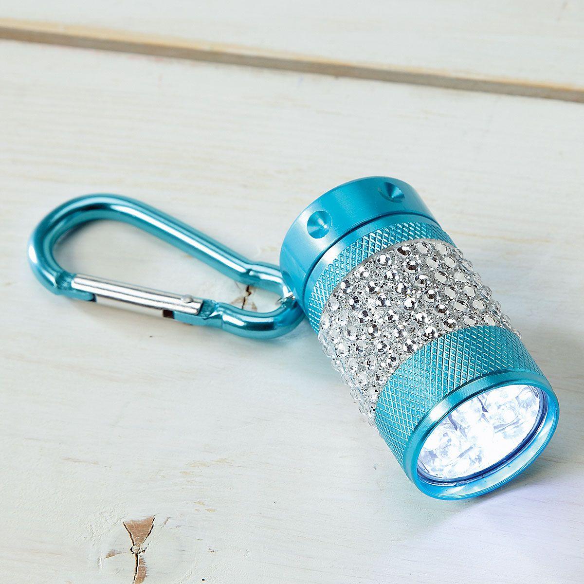 Teal Clip Bling Flashlight
