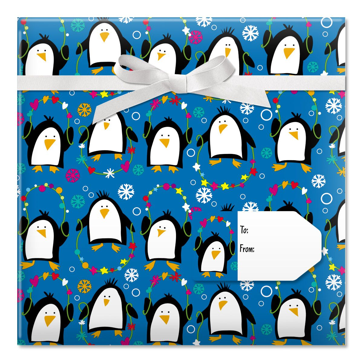 Playful Penguins Jumbo Rolled Gift Wrap and Labels