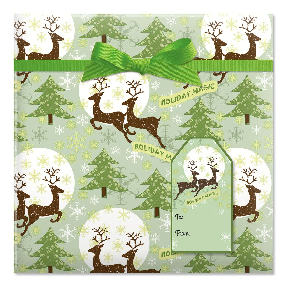 Reindeer Holiday Magic Jumbo Rolled Gift Wrap and Labels