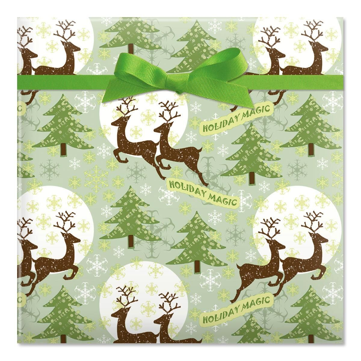 Reindeer Holiday Magic Jumbo Rolled Gift Wrap
