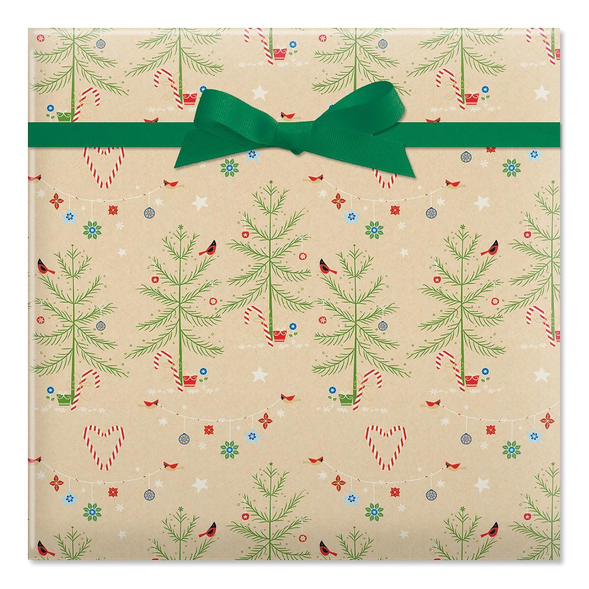 Twinkling Trees Rolled Gift Wrap