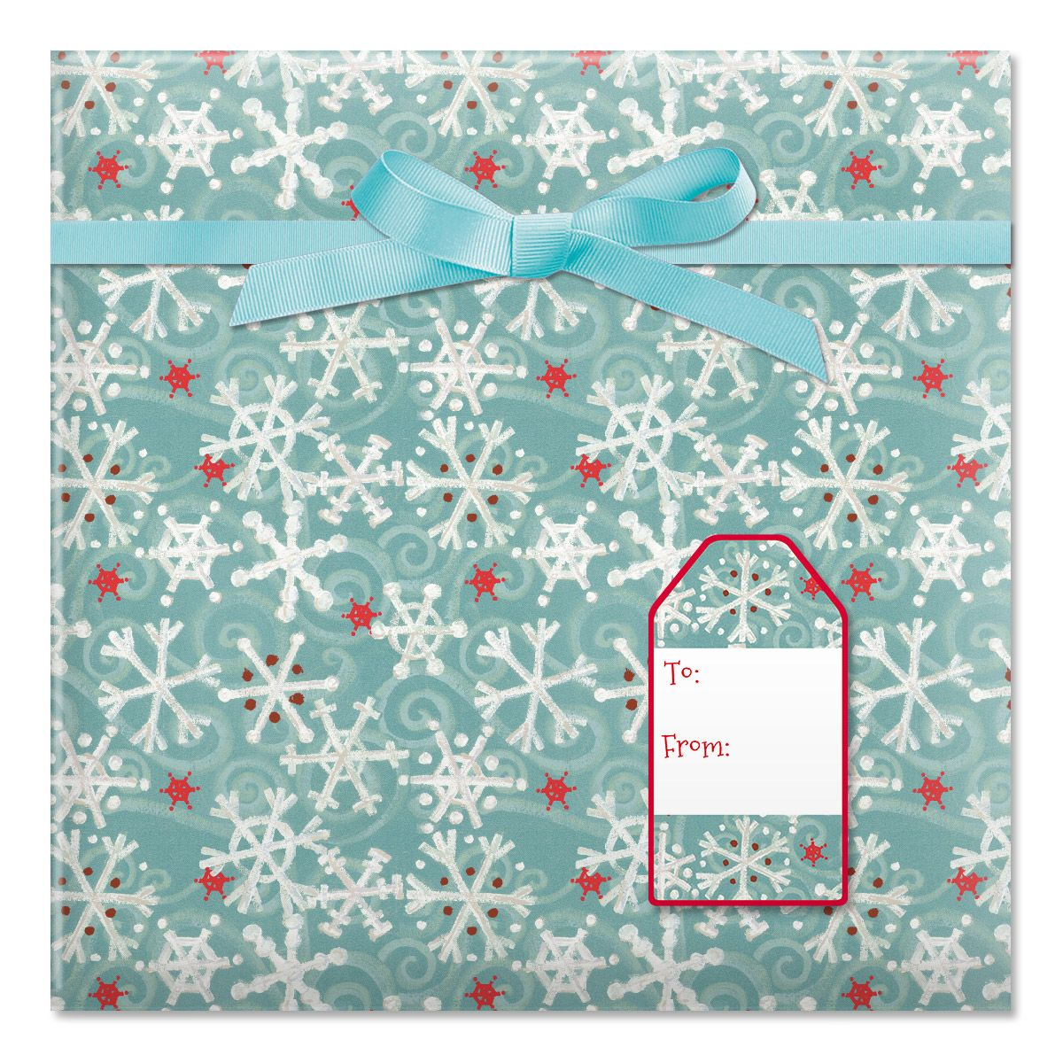 Winter Flakes Jumbo Rolled Gift Wrap and Labels