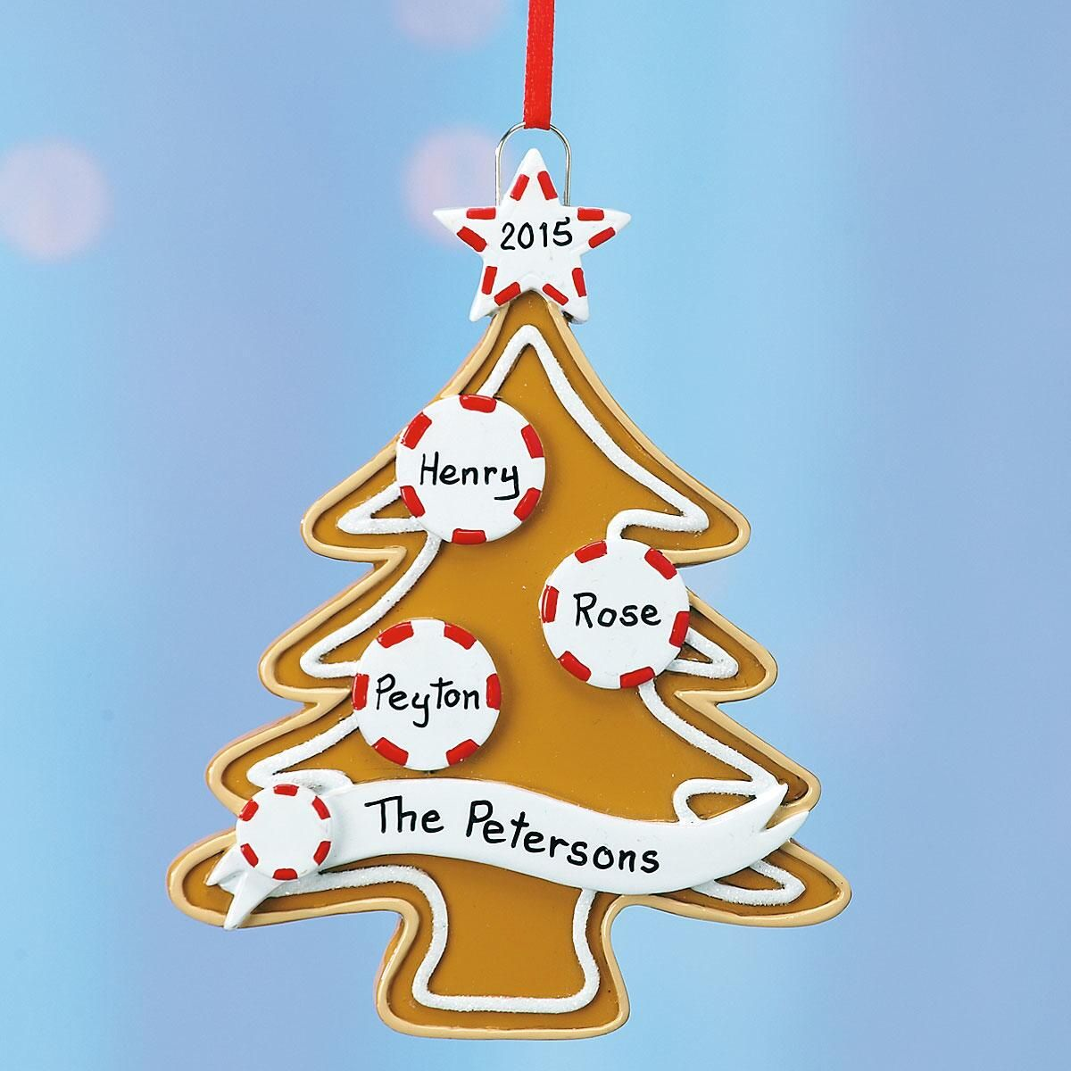 Personalized Gingerbread Tree Family Ornament
