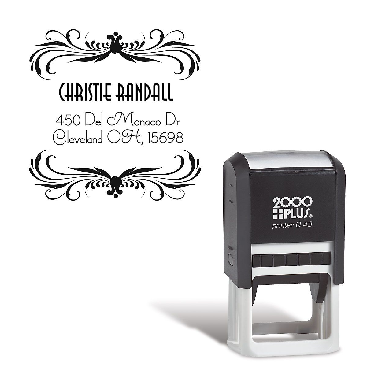 Deco Square Self-Inking Address Stamp