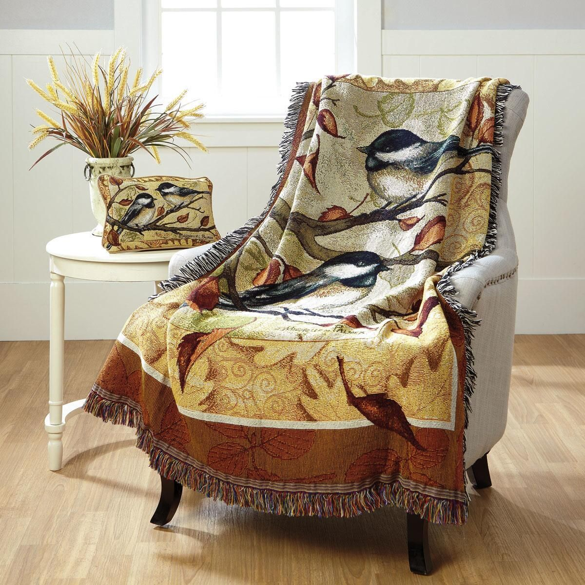 Autumn Chickadee Decorative Throw