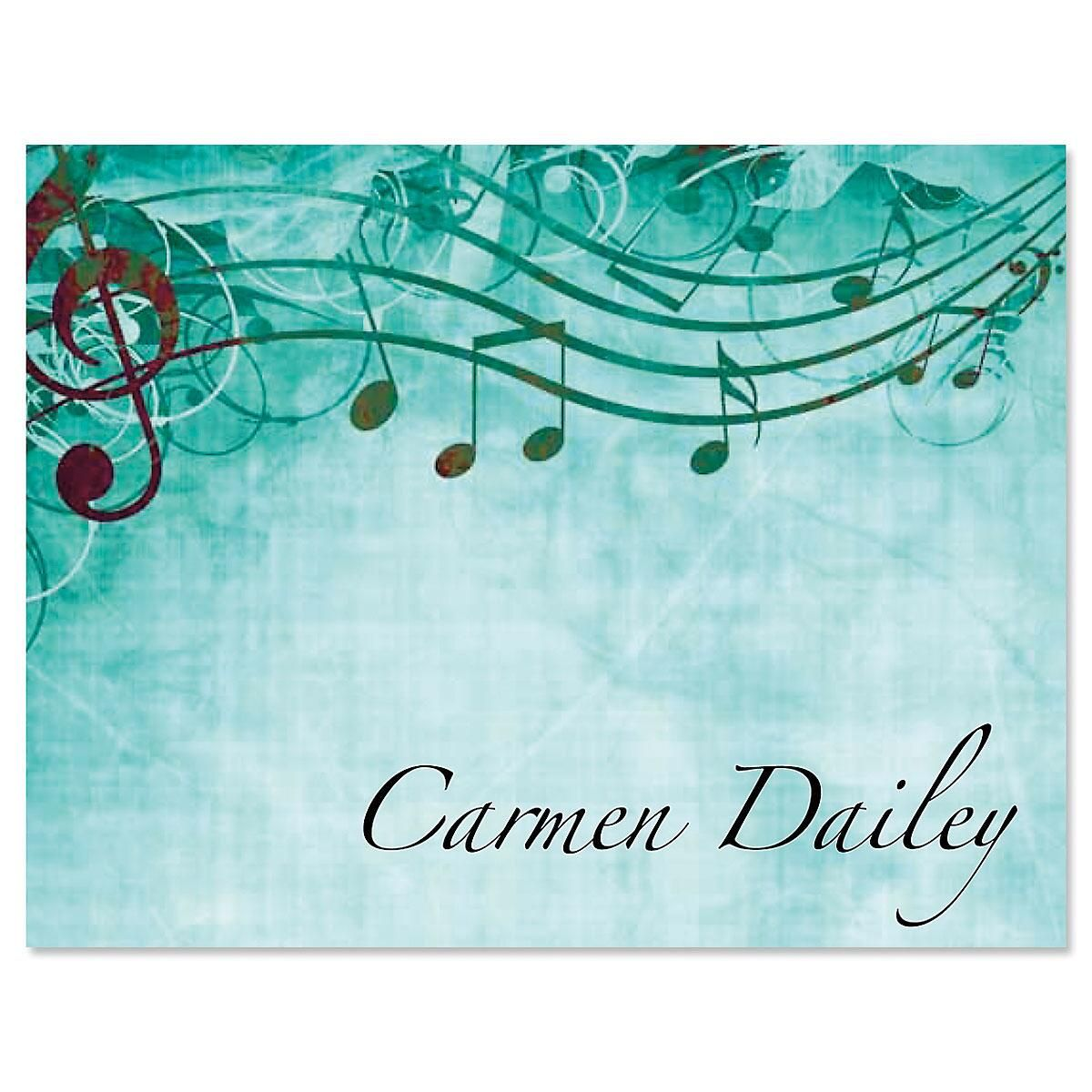 Sheet Music Aqua Note Cards