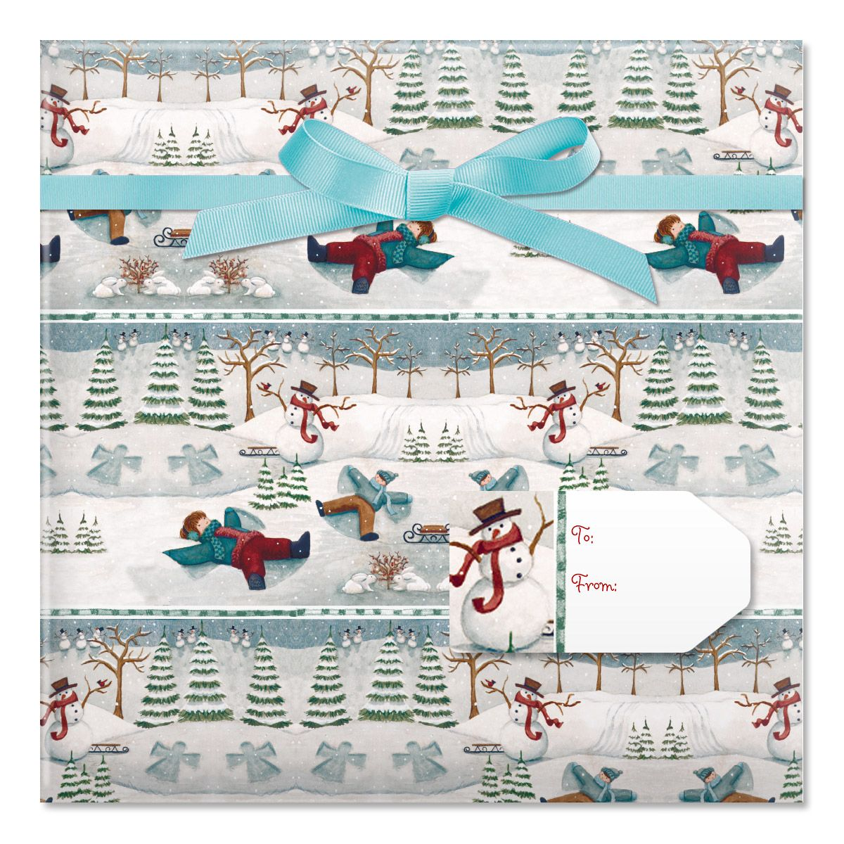 Snow Days Jumbo Rolled Gift Wrap and Labels