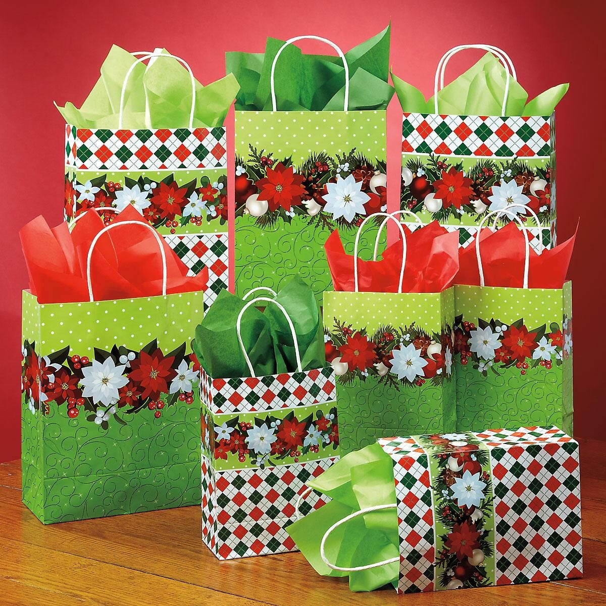 Poinsettia & Holly Gift Bag Set