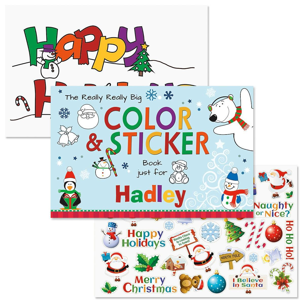 really big personalized christmas coloring book stickers