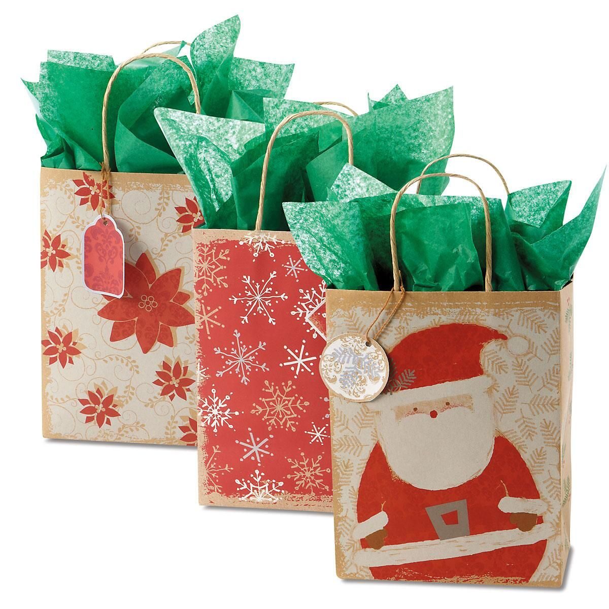 Red & White Christmas Kraft Bags