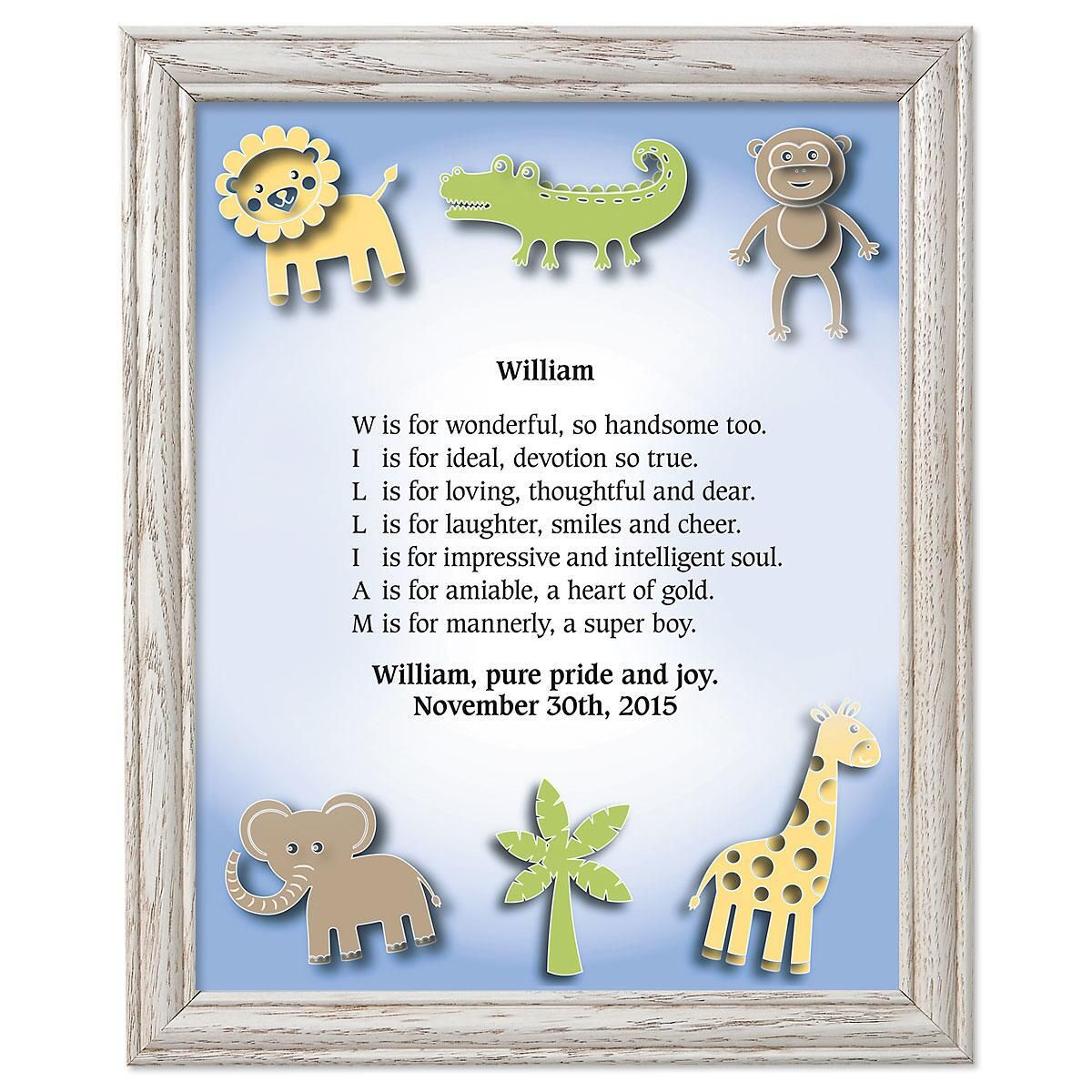 Zoo Animals Framed Name Poem Print Current Catalog