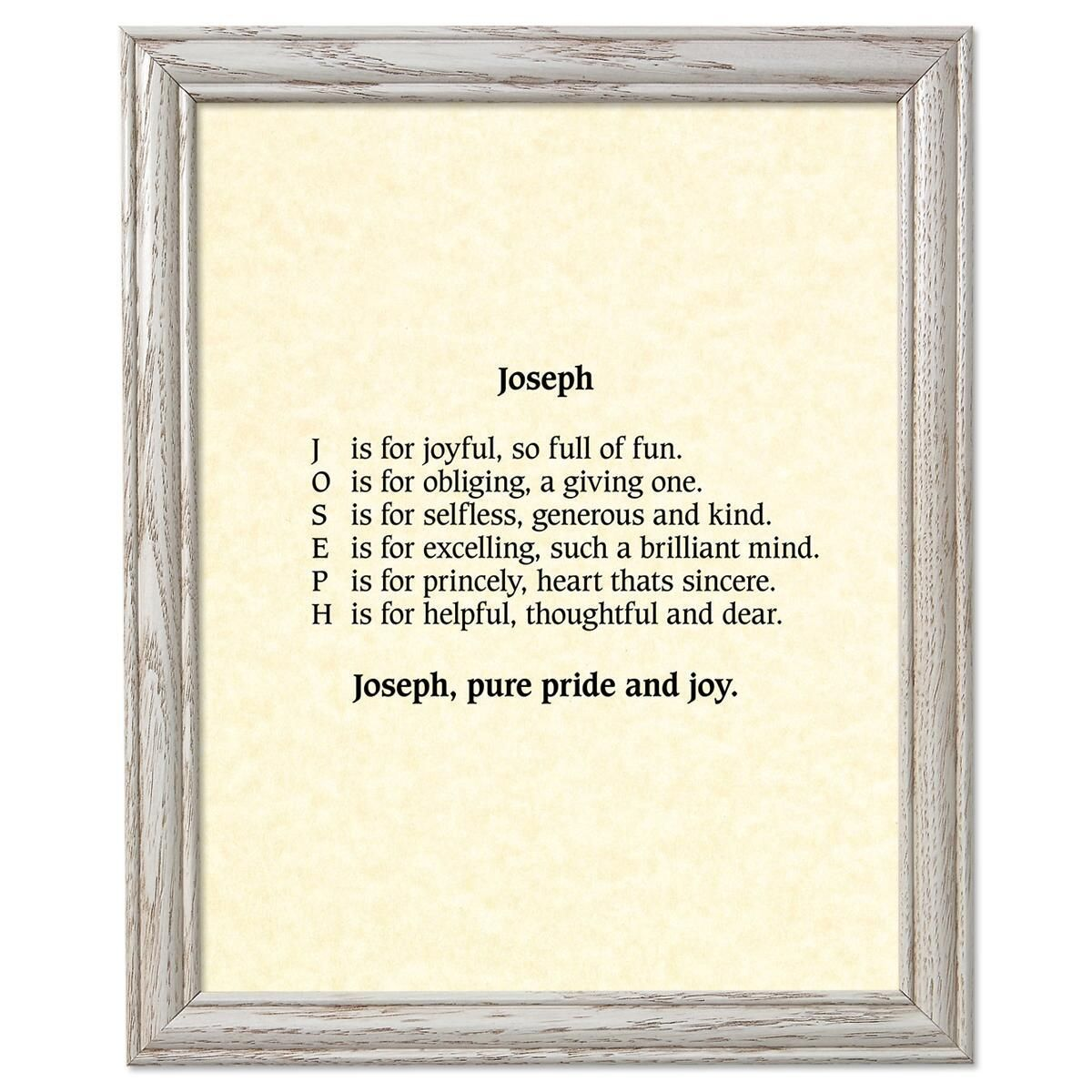 Parchment Cream Framed Name Poem Print