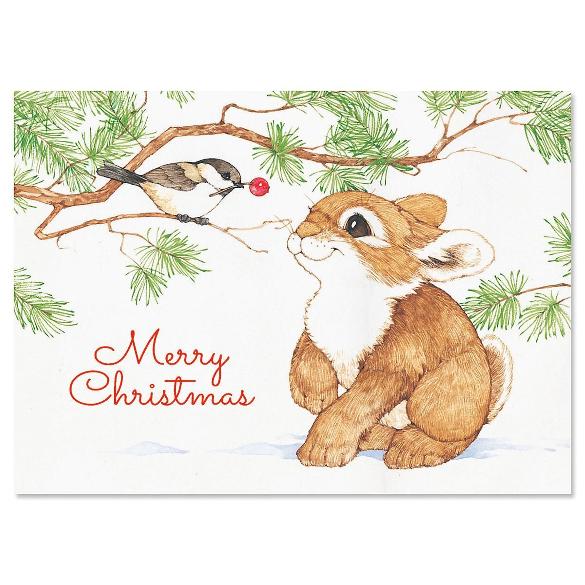 Bunny with Bird in Tree Christmas Cards